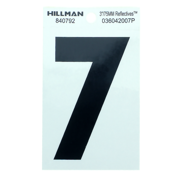 Hillman 840792 3 Black On Silver Reflective Square-Cut Mylar Number 7