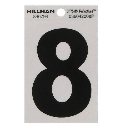 HILLMAN 840794 3 INCH BLACK ON SILVER REFLECTIVE SQUARE-CUT MYLAR NUMBER 8