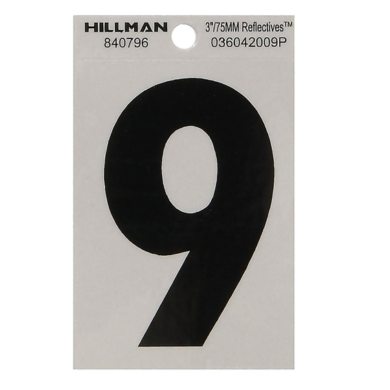 Hillman 840796 3 Black On Silver Reflective Square-Cut Mylar Number 9