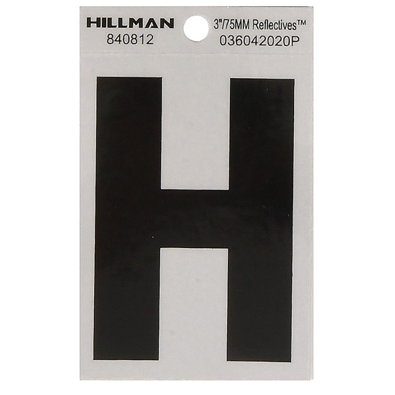 Hillman 840812 3-Inch Letter H Black On Silver Reflective Square Mylar