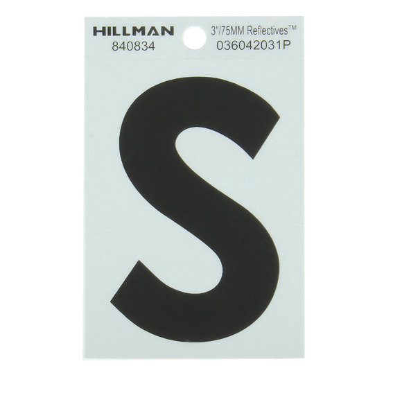 Hillman Black On Silver Reflective Square Mylar 3-Inch Letter S