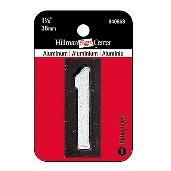 HILLMAN 840858 1-1/2 INCH REFLECTIVE MAILBOX NUMBER 1