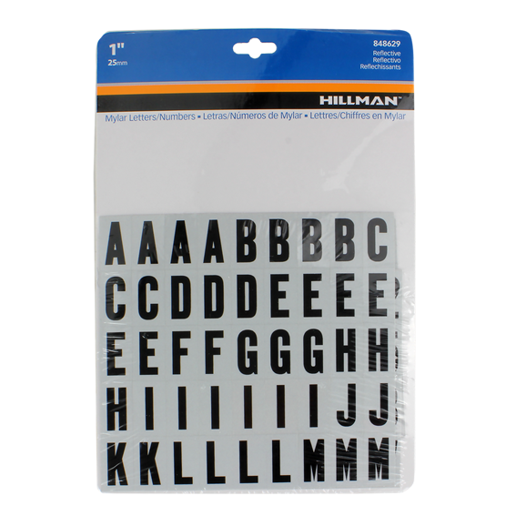 HILLMAN 848629 1 BLACK ON WHITE REFLECTIVE LETTERS & NUMBERS KIT