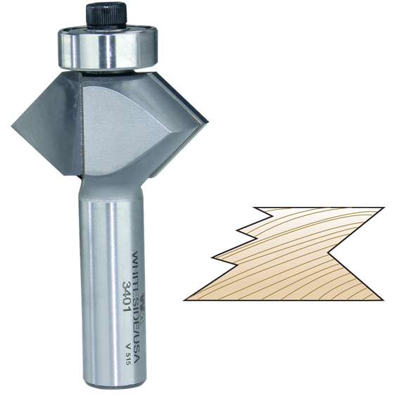 WHITESIDE #3401 EDGE BANDING V-GROOVE PLYWOOD CUTTER ROUTER BIT