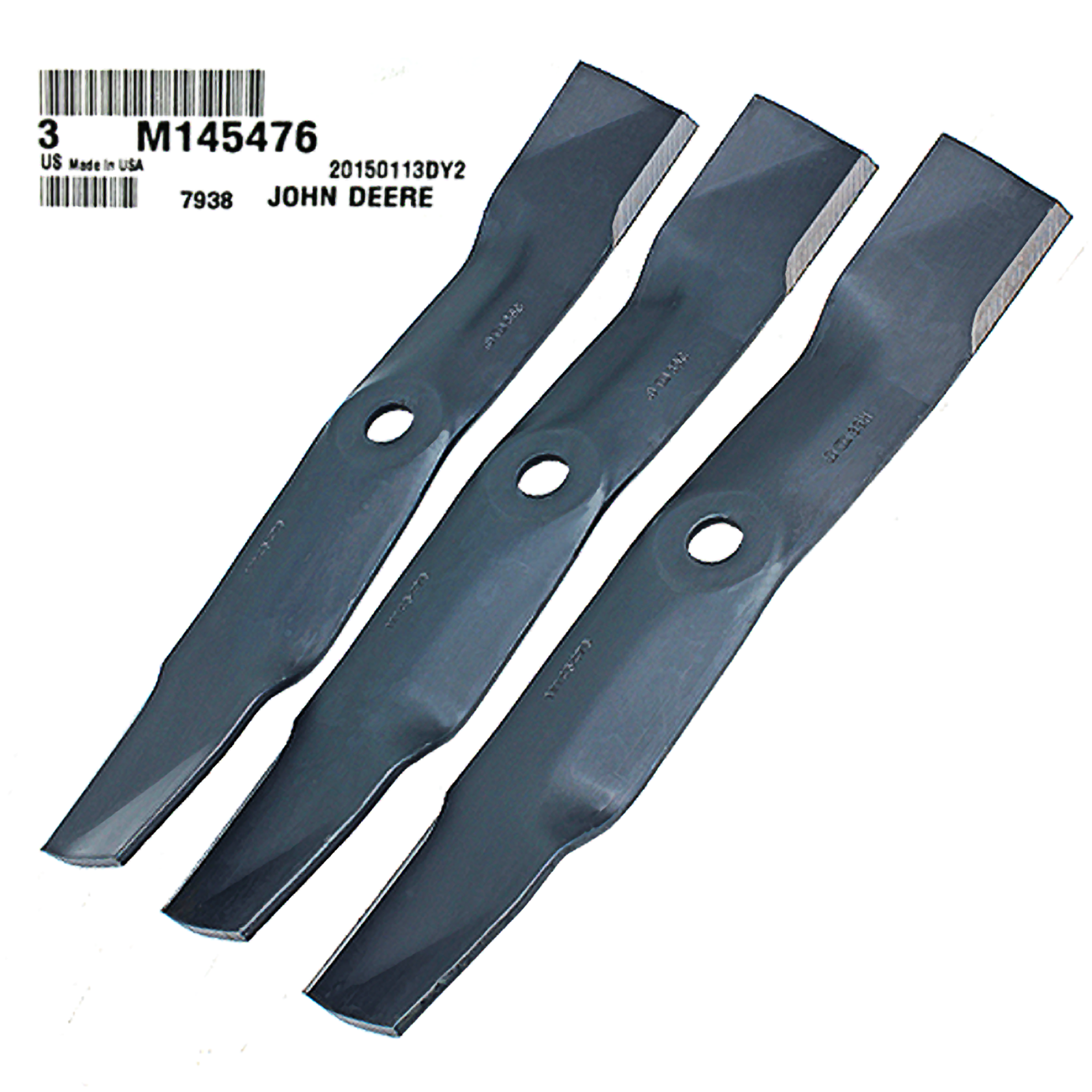 John Deere #M145476 Standard Mower Blades, Set of 3