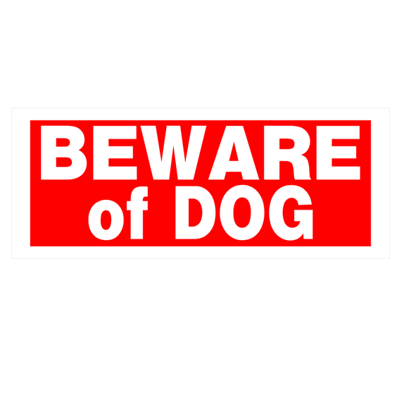 Hillman 841794 Red & White Beware Of Dog Sign - 15 X 6