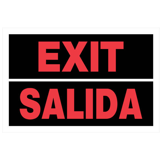 Hillman 841964 Red & White Bilingual Exit Sign - 12 X 8