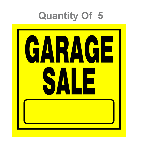 HILLMAN 840169 YELLOW GARAGE SALE SIGNS - 11 X 11 - 5 PK.