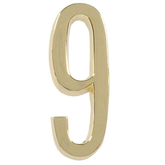 HILLMAN 843279 4 INCH POLISHED BRASS NUMBER 9