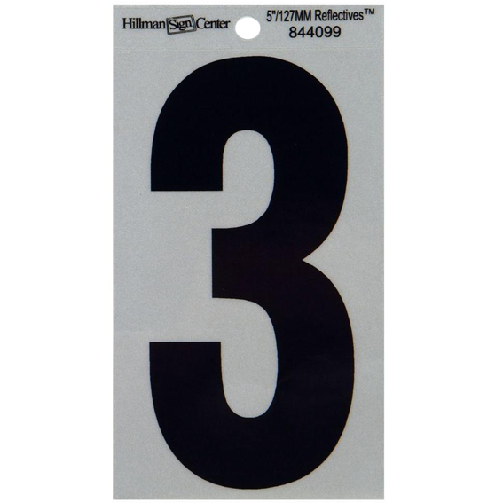 HILLMAN 844099 5-1/4 INCH BLACK ON SILVER REFLECTIVE SQUARE-CUT MYLAR NUMBER 3