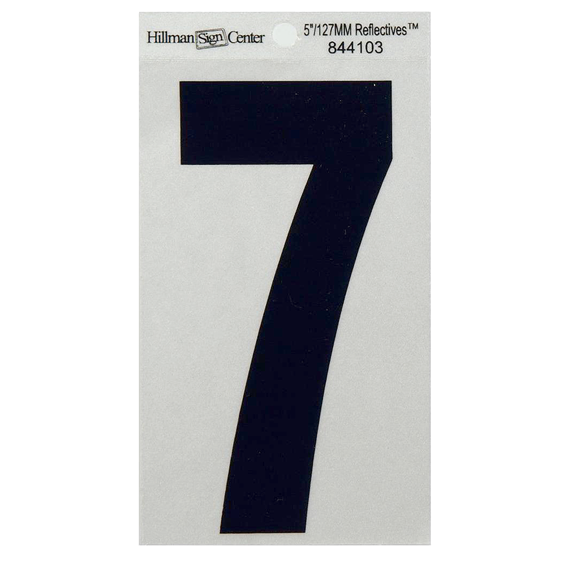 Hillman 844103 5-1/4-Inch Black On Silver Reflective Square-Cut Mylar Number 7