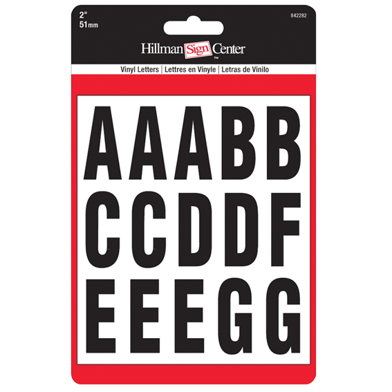 Hillman 842282 2-Inch Black On White Letters Kit, 2 ct
