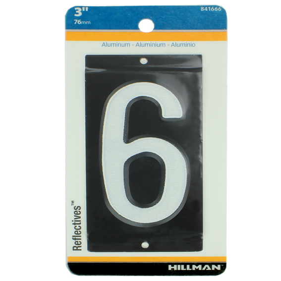 HILLMAN 841666 3 INCH REFLECTIVE MAILBOX NUMBER 6'S - 2 PK