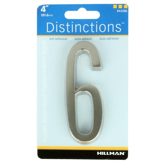 HILLMAN 843286 4 INCH BRUSHED NICKEL ADDRESS PLAQUE NUMBER 6's - 2 PK