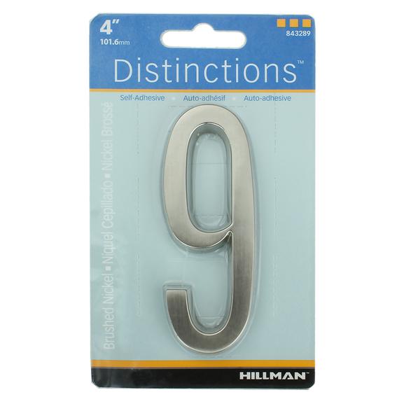 Hillman 843289 4-Inch Brushed Nickel Address Plaque Number 9's, 2 Pk