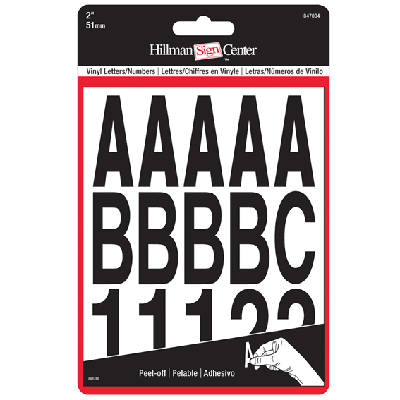 Hillman 2-Inch Individual Die-Cut Black Letters & Numbers Set, 2 Pack