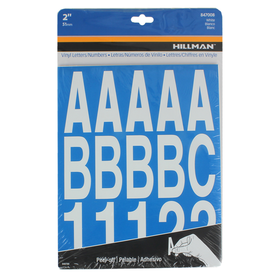 Hillman 2-Inch Individual Die-Cut White Letters & Numbers Set, 2 Pack