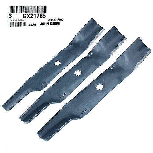 John Deere #GX21785 High Lift Bagging Lawn Mower Blades, Set of 3