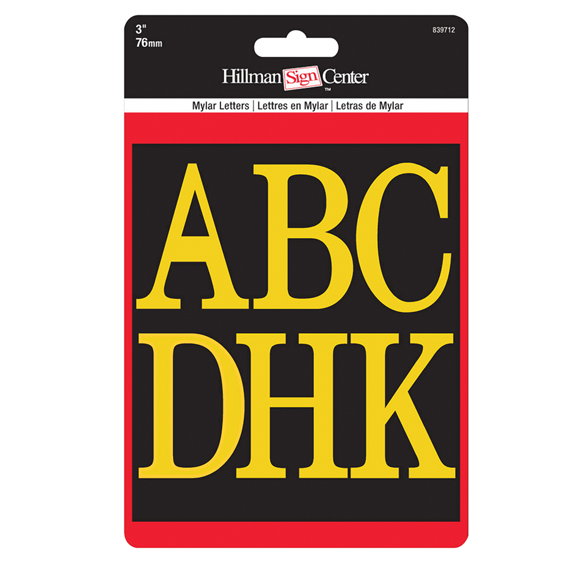 HILLMAN 839712 GOLD ON BLACK 3 INCH HIGH LETTERS KIT