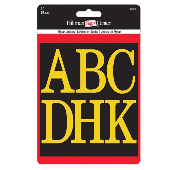 Hillman 839712 Gold On Black 3 High Letters Kit