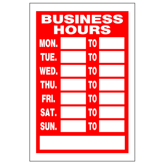 HILLMAN 839992 RED & WHITE BUSINESS HOURS SIGN - 8 INCH X 12 INCH