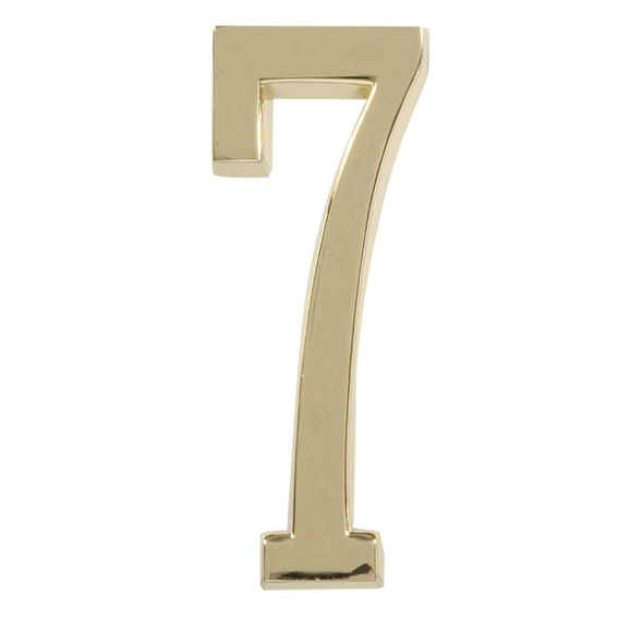 HILLMAN 843277 4 INCH POLISHED BRASS NUMBER 7