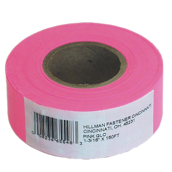 HILLMAN 845769 PINK FLAGGING TAPE - 1-3/16 INCH X 150 FT