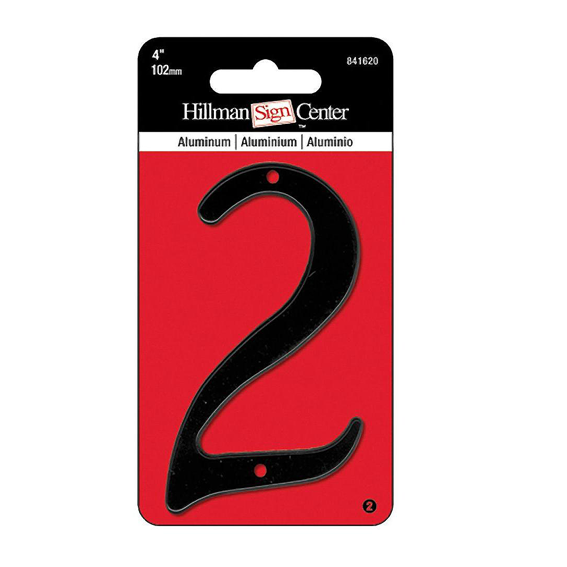 HILLMAN 841620 4 INCH BLACK DIE CAST ALUMINUM NUMBER 2 - 2 PK