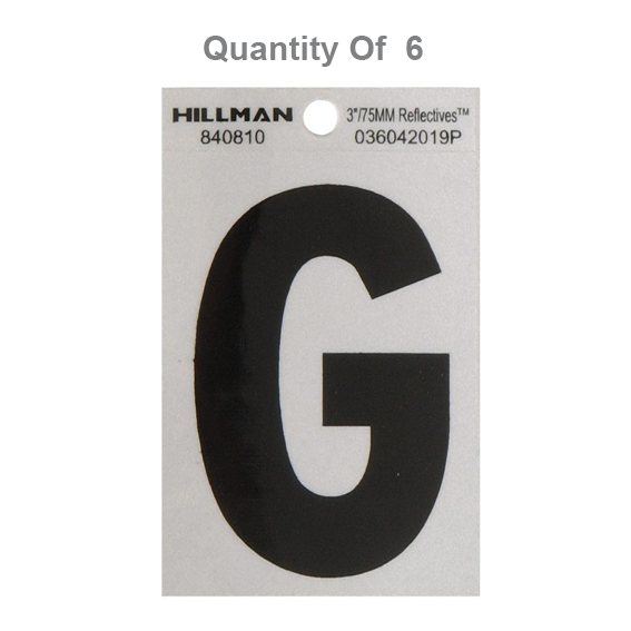Hillman 840810 3-Inch High Letter G's Black On Silver Reflective Square-Cut Mylar, 6 ct