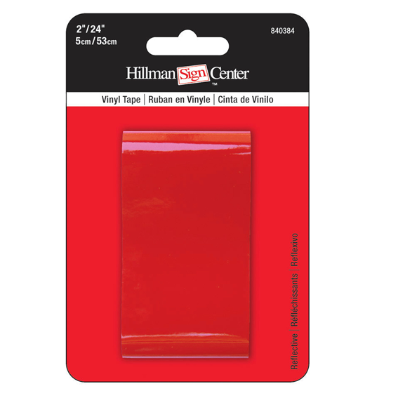 Hillman 840384 Solid Red Reflective Vinyl Safety Tape - 2 X 24