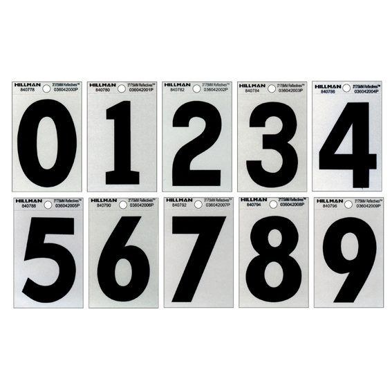 Hillman 3-Inch Black On Silver Reflective Square-Cut Mylar Mailbox Numbers Kit