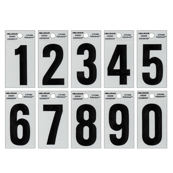 HILLMAN MAILBOX NUMBERS KIT - 2 BLACK ON SILVER REFLECTIVE SQUARE-CUT MYLAR