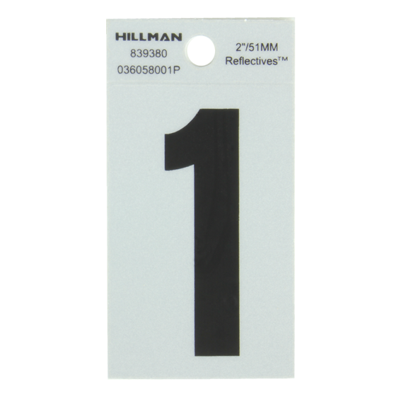 HILLMAN 839380 2 BLACK ON SILVER REFLECTIVE SQUARE-CUT MYLAR NUMBER 1'S - 2 PK.