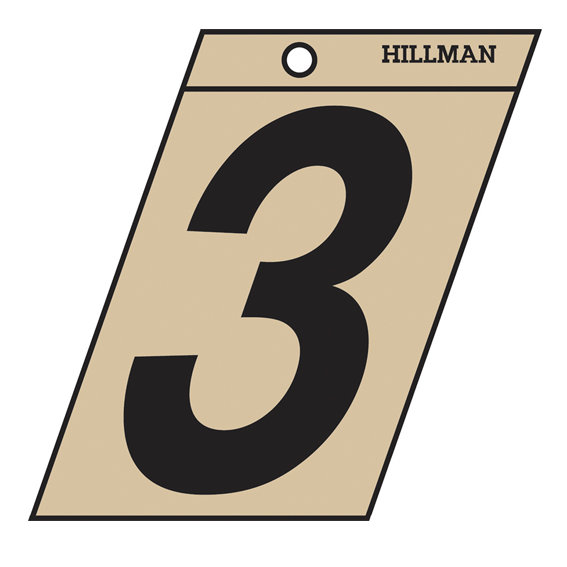 HILLMAN 839464 3 INCH BLACK ON GOLD ANGLE-CUT MYLAR NUMBER 3