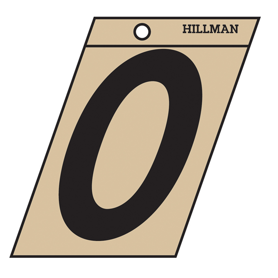 HILLMAN 839478 3 INCH BLACK ON GOLD ANGLE-CUT MYLAR NUMBER 0