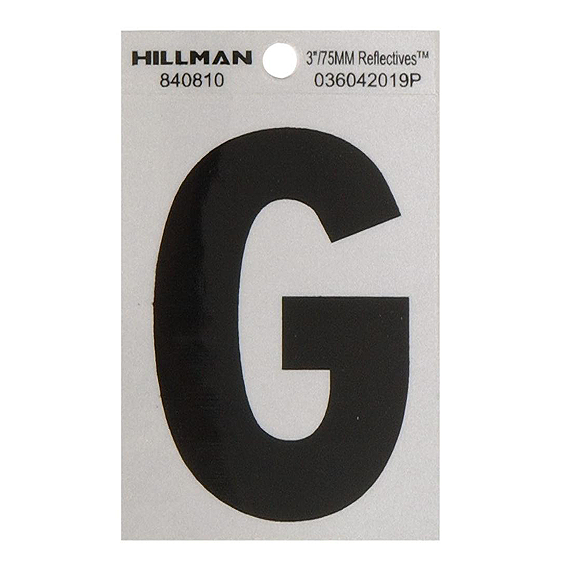 HILLMAN 840810 BLACK ON SILVER REFLECTIVE SQUARE-CUT MYLAR 3 HIGH LETTER G