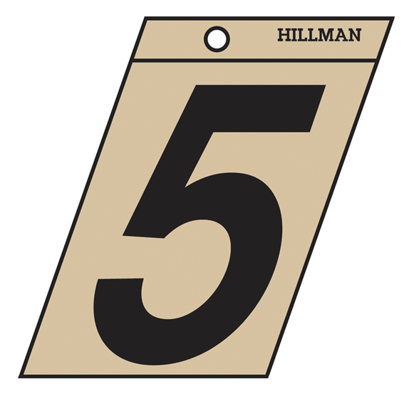 Hillman 839468 3-Inch Black On Gold Angle-Cut Mylar Number 5