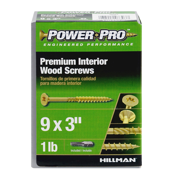Hillman 41994 #9 X 3 Power Pro Premium Interior Wood Screws - 2 lb.