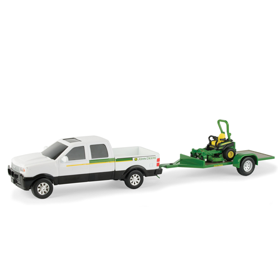 Ertl John Deere 1:32 Scale Model Z930M Z Trak Mower With Pickup Truck & Trailer