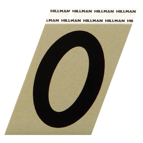 Hillman 840552 3 Black On Gold Angle-Cut Aluminum Number 0 - 2 Pk.