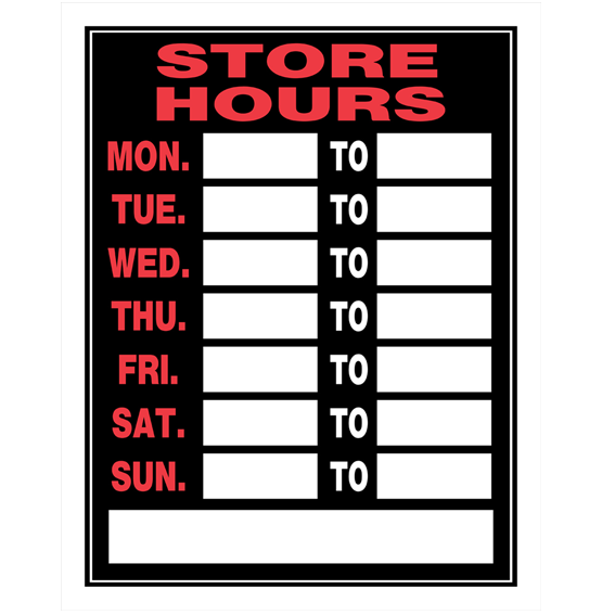 HILLMAN 848543 RED & BLACK PLASTIC BUSINESS HOURS SIGN - 15 X 19