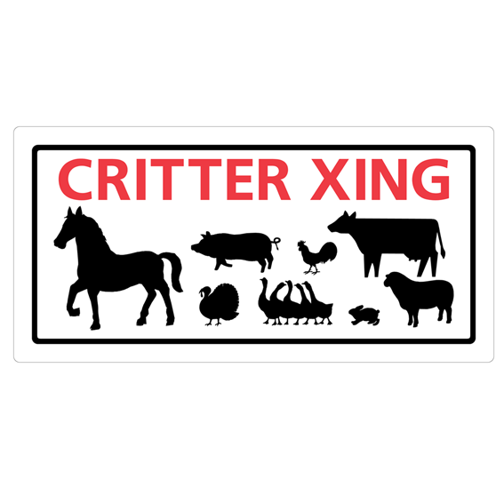 HILLMAN 848607 RED & BLACK PLASTIC CRITTER XING SIGN - 5 X 10