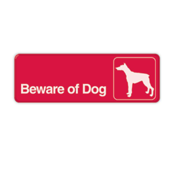 Signs Hillman 848636 Red White Beware Of Dog Signs 3 X 9 2 Pk