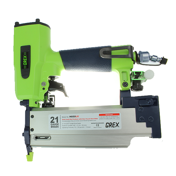 Grex H850LX 3/8 Inch to 2 Inch 21 Gauge Brad Nailer  w/Auto Lock-Out