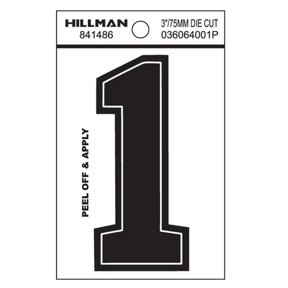 Hillman 841486 3-Inch Wide Style Black Gloss Vinyl Peel-Off Number 1