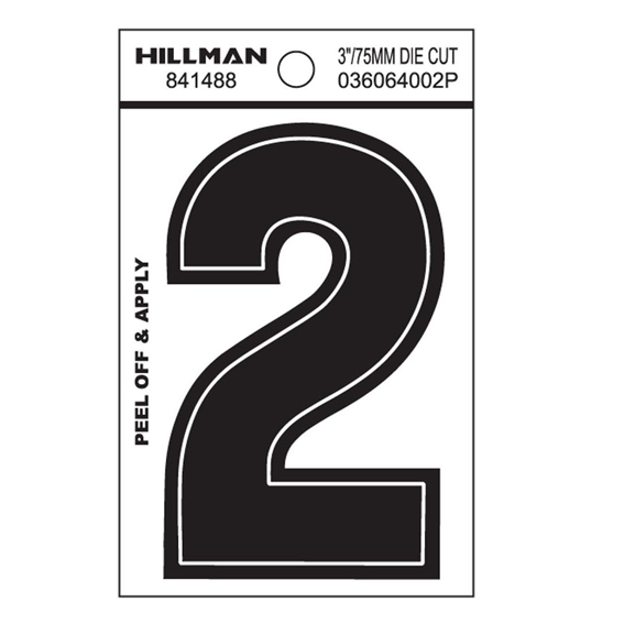 HILLMAN 841488 3 INCH WIDE STYLE BLACK GLOSS VINYL PEEL-OFF NUMBER 2