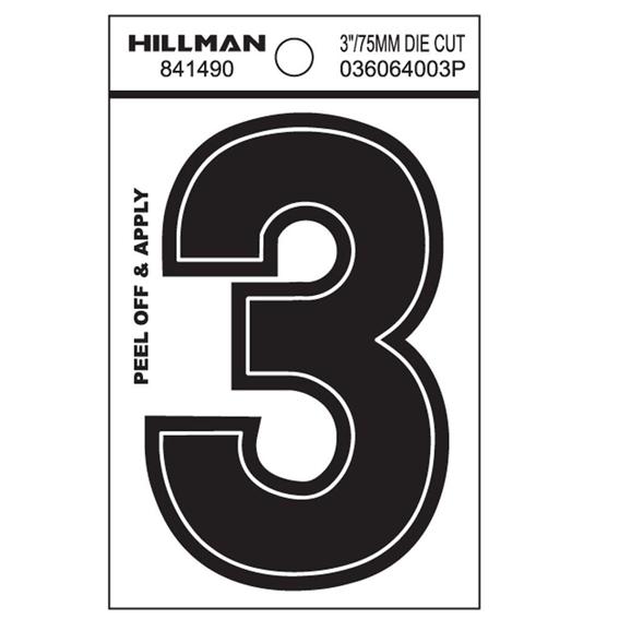HILLMAN 841490 3 INCH WIDE STYLE BLACK GLOSS VINYL PEEL-OFF NUMBER 3