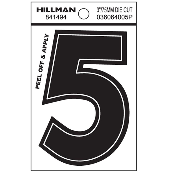 HILLMAN 841494 3 INCH WIDE STYLE BLACK GLOSS VINYL PEEL-OFF NUMBER 5
