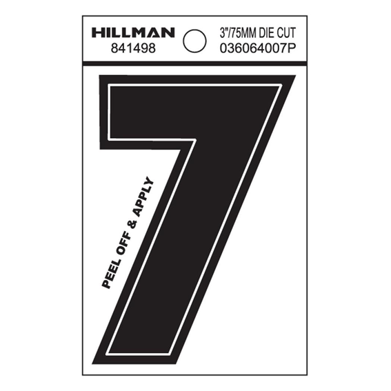 Hillman 841498 3-Inch Wide Style Black Gloss Vinyl Peel-Off Number 7