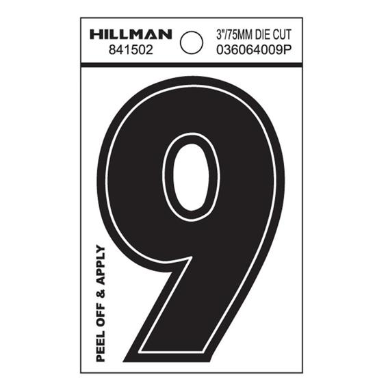 Hillman 841502 3-Inch Wide Style Black Gloss Vinyl Peel-Off Number 9